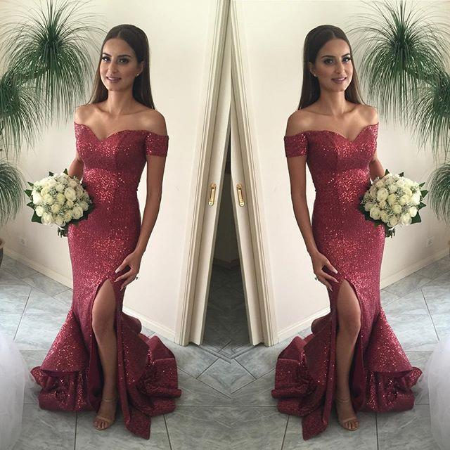 Sequin prom Dress,Charming Prom Dresses,Red prom Dress,Off shoulder prom dresses