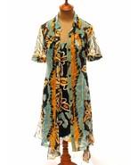 DIANE VON FURSTENBERG Huahine Dress Blue Black Multi Abstract Silk 2 Pie... - $39.71