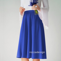 a-line blue midi skater skirt with pockets, sapphire, beige, cream, custom - $87.00