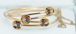 Antique Pair (ca. 1900) 14K Rose Gold Bracelets (Ruby/Sapphires/Diamonds... - $1,385.00