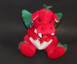 Applause Plush Red white green Crispy Kringle Dragon fire breathing stuf... - $9.89