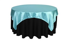Your Chair Covers - 72 inch Square Satin Table Overlay Turquoise, Square... - $11.14