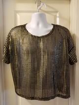 H&M Womens Mesh Shirt Gold Black Metallic Sheer Size XSmall 100% Polyester - $23.38