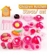 Children Kitchen Set Pretend Play Cut Toy Utensils 9-30PCS Fruit Vegetab... - $13.86