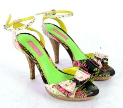 Betsey Johnson High Heel Shoes Floral Bow Tie Ankle Strap Pumps Heels Si... - $19.79