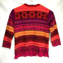 Susan Bristol Wool Cardigan Sweater Size Large L Button Front Hand Embroidered image 9