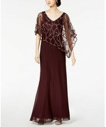 J Kara Sequin-Embellished Cape Gown Wine/Mercury Size 12 $289 - $142.49