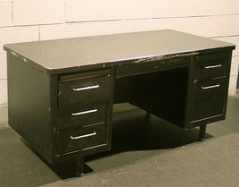 Vintage Antique Metal Steel Office Work Filing Cabinet Tanker Desk Writi... - $379.99