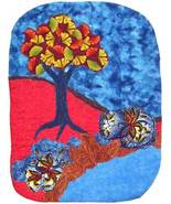Landscape Red and Blue: Quilted Art wall hanging - $405.00