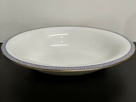 "Wedgwood PALATIA 10"" Oval SERVING BOWL NEW with TAG Greek Key Blue & Gold - $88.83"