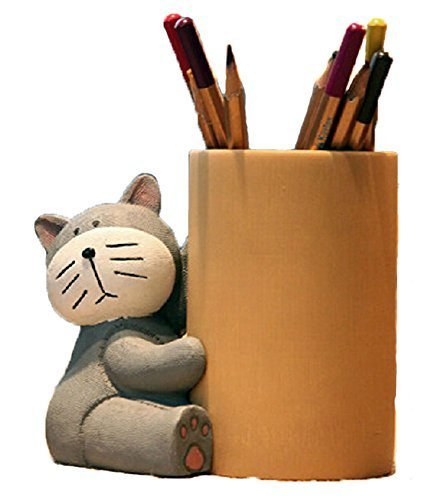 Lovely Cat Pencil Holder Fashion Creative Bamboo Pen Holder GRAY