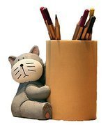 Lovely Cat Pencil Holder Fashion Creative Bamboo Pen Holder GRAY - £25.80 GBP