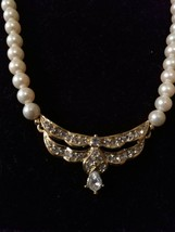 Vintage Trifari Pearl with Rhinestones and Teardrop Necklace Signed ~ Gorgeous ~ - $148.50
