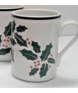 DANSK mugs Christmas Bistro Holly pattern set of 4 coffee berries cup - $18.00