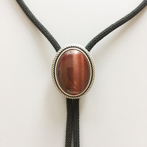 New Vintage Silver Plated Nature Red Tiger Eye Stone Western Oval Bolo Tie - $16.72