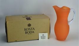 Kosta Boda Pitcher Frosted Glass Orange Jug Gunnel Sahlin - $213.75
