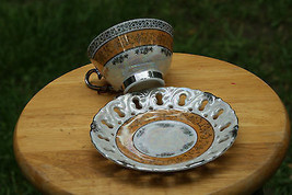 Old Vintage Cup & Saucer Silver Gold Open Lace Edges Irridescent or Moth... - $9.99