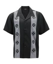 Men's Casual Two Tone Biker Cross Premium Guayabera Bowling Dress Shirt image 2