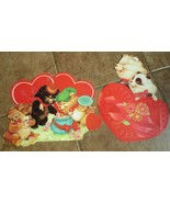 Vtg 2 Valentines Day cardboard Die Cut Double Sided  Eureka Personality ... - $20.00
