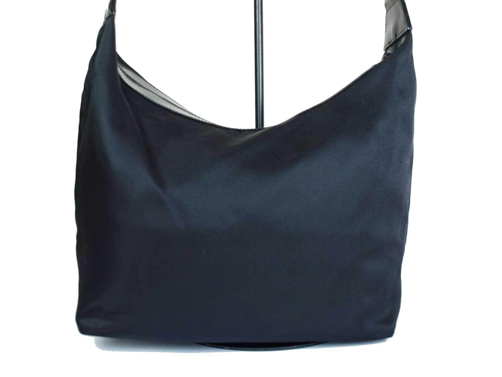 Auth GUCCI Bamboo Nylon Canvas Black Shoulder Bag GS14804L