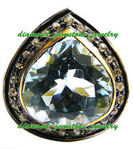 925 Sterling Silver Ring Vintage Rose Cut Victorian Diamond Blue Topaz Ring - $117.26
