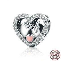 925 Sterling Silver Promise For Love Heart Beads fit Pandora Bracelet - $16.99