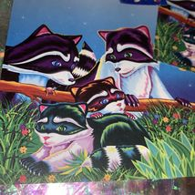 Lisa Frank Stationery RACCOON Racoon Family 2 Sheets One Full Sticker Mod image 4