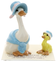 Hagen-Renaker Miniature Ceramic Bird Figurine Goose Blue Mother and Sister Set