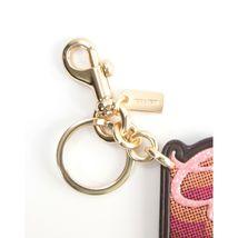 Coach Oxblood Leather Pink Glitter Retro Logo Key Chain Bag Charm 35546 NWT image 3