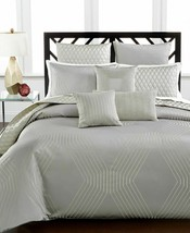 New Hotel Collection Keystone Duvet Cover Cotton Blend Queen Grey Gray S... - $156.75