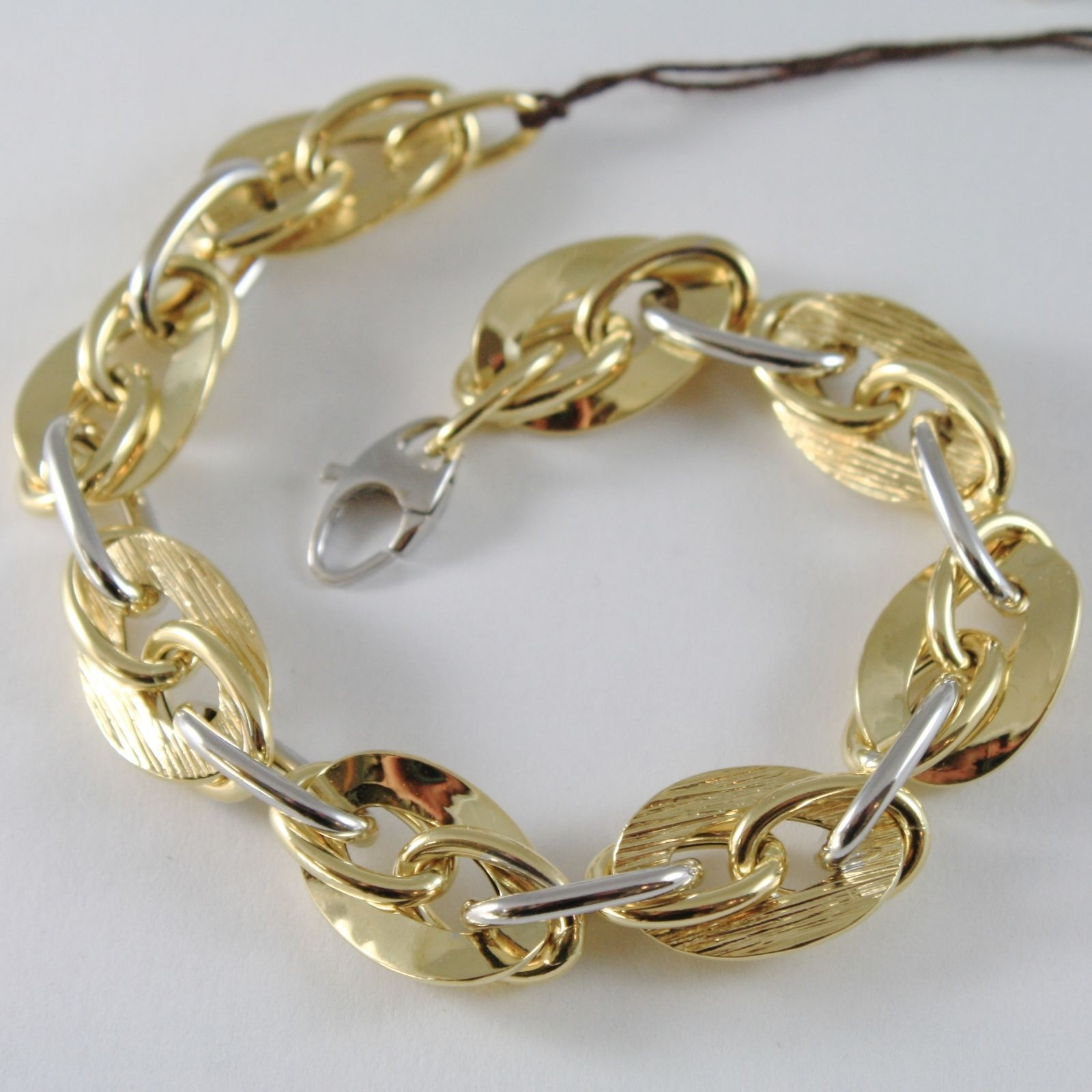 BRACELET YELLOW GOLD WHITE 750 18K WITH OVALS STRIPED AND ALTERNATING, 20.5 CM
