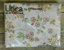 NIP Vintage Utica JP Stevens Percale Full Fitted Sheet Floral Flower Bud... - $14.85