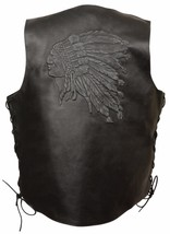 MEN'S MOTORCYCLE BLACK INDIAN HEAD EMBROIDERED LEATHER VEST W/SIDE LACES... - $56.09+