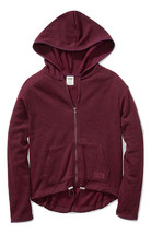 Victoria's Secret Pink Sweater Knit High Low Hoodie Full Zip Maroon Smal... - $73.40