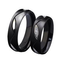 2PCS Black Titanium Stainless Steel Couple Rings Promise Wedding Ring Ba... - $403,03 MXN