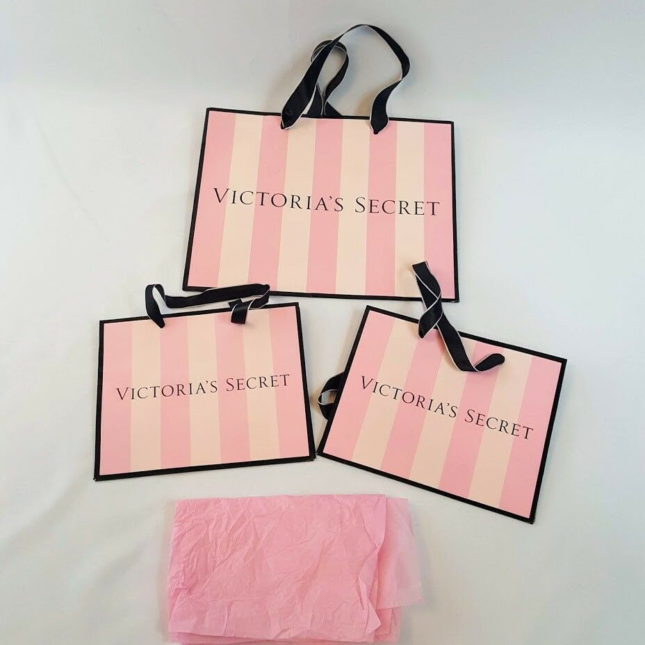 Medium ~ NEW Victoria/'s Secret Pink Stripe Paper Gift Shopping Bags