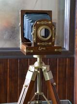 Vintage Designer Wooden folding Camera with Tri... - $129.97