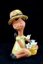 Vtg Ceramic Big Bonnet Girl Mold Figure Yellow & Green Removable Flowers... - $21.77
