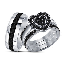 Christmas Gift 925 Sterling Silver White Gold Plated His And Her Trio Ri... - $130.71