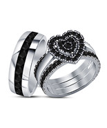 Christmas Gift 925 Sterling Silver White Gold Plated His And Her Trio Ri... - $107.18