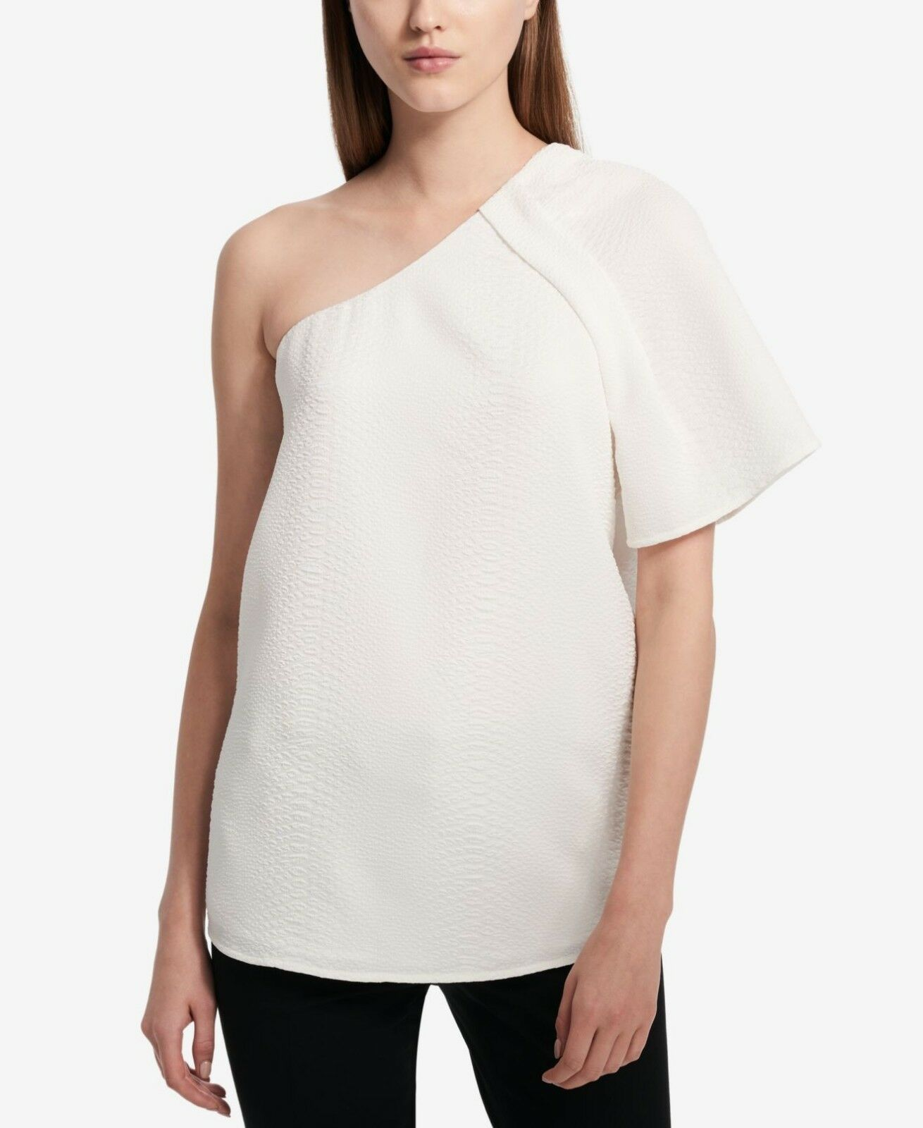 Primary image for Calvin Klein Womens Soft WhiteTextured One-Shoulder Asymmetrical Top Size M $79