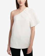 Calvin Klein Womens Soft WhiteTextured One-Shoulder Asymmetrical Top Siz... - $16.33