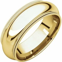 10k Yellow Gold 7 mm High Polished Comfort Fit Double Milgrain Wedding R... - $264.33+