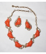 Vintage CORO Signed Coral Lucite Pearl Floral Leaf Gold Tone Demi Parure - $56.75