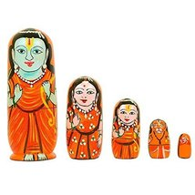 Nesting Dolls Set of 5 Piece Hand Painted Religious Ramayana Set Lord Ra... - $13.85