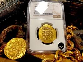 MEXICO 1715 FLEET SHIPWRECK 8 ESCUDOS NGC 62 PIRATE GOLD COINS TREASURE COB - $18,950.00