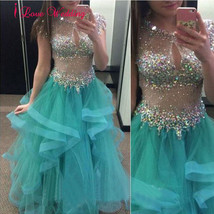 New A-Line Evening Dresses Formal Tiered Tulle Crystal Party Bridal Gown... - $117.45