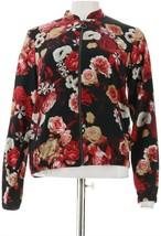 Studio Denim & Co Floral Print Zip-Front Bomber Jacket Black L NEW A305320 - $46.51