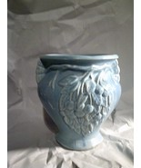 Rare Hull Pottery Early Stoneware BERRIES AND LEAVES Vase Blue Drip Glaz... - $39.59