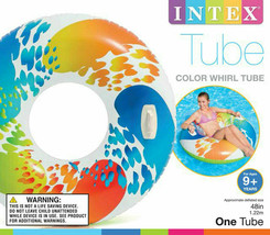 """Intex 58202EP Inflatable 47"""" Color Whirl Tube Swimming Pool Raft with Ha... - $14.54"""